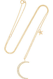 Moon & Star 18-karat gold diamond necklace