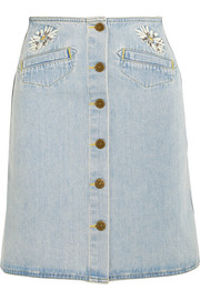 M.i.h Jeans Embroidered denim mini skirt