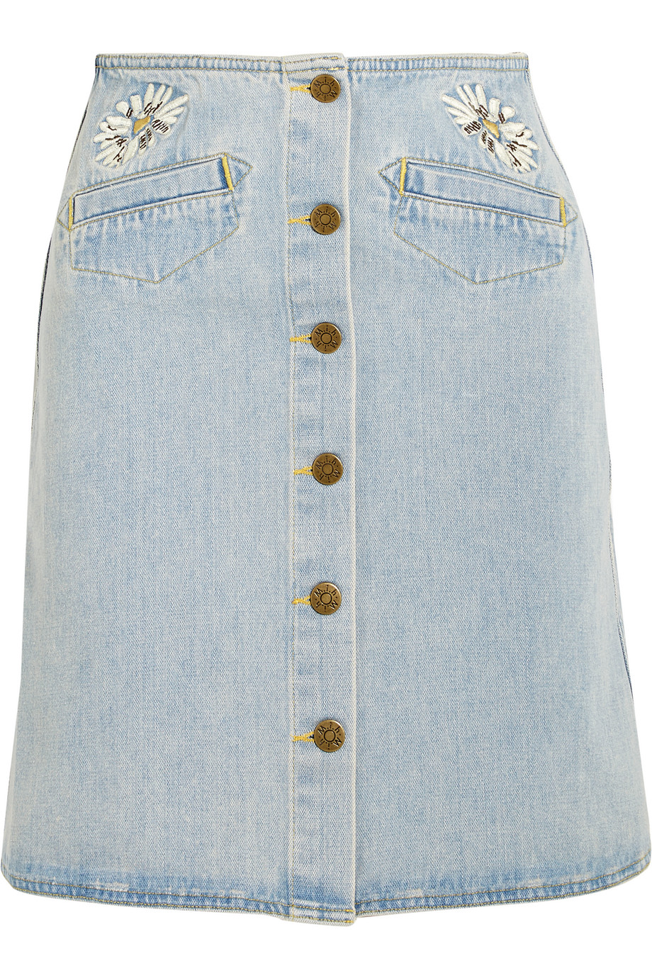 Embroidered Denim Mini Skirt, Mid Denim, Women's