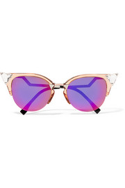 Swarovski crystal-embellished cat-eye acetate and metal sunglasses