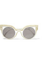 Cutout cat-eye glittered acetate sunglasses
