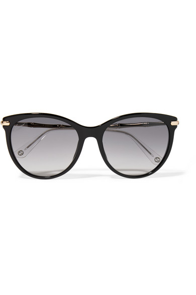 gucci female gucci cateye acetate and goldtone sunglasses black