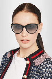 Gucci Cat-eye acetate and gold-tone sunglasses