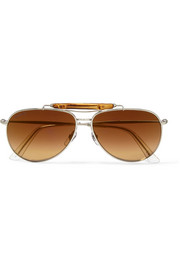 Bamboo-trimmed aviator-style metal sunglasses
