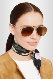 Gucci Bamboo-trimmed aviator-style silver-tone sunglasses