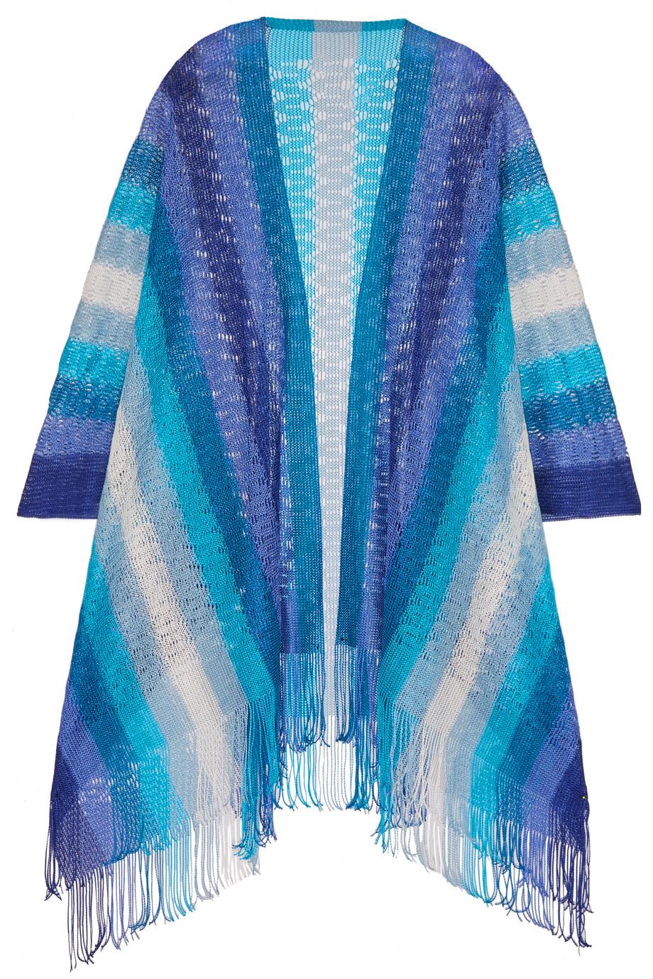 Missoni Fringed Crochet-Knit Wrap, Blue, Women's