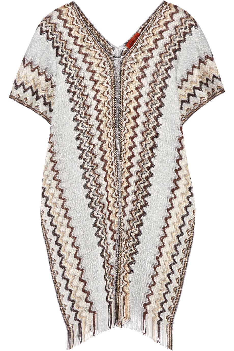 Missoni Metallic Crochet-Knit Poncho, Silver/Gray, Women's