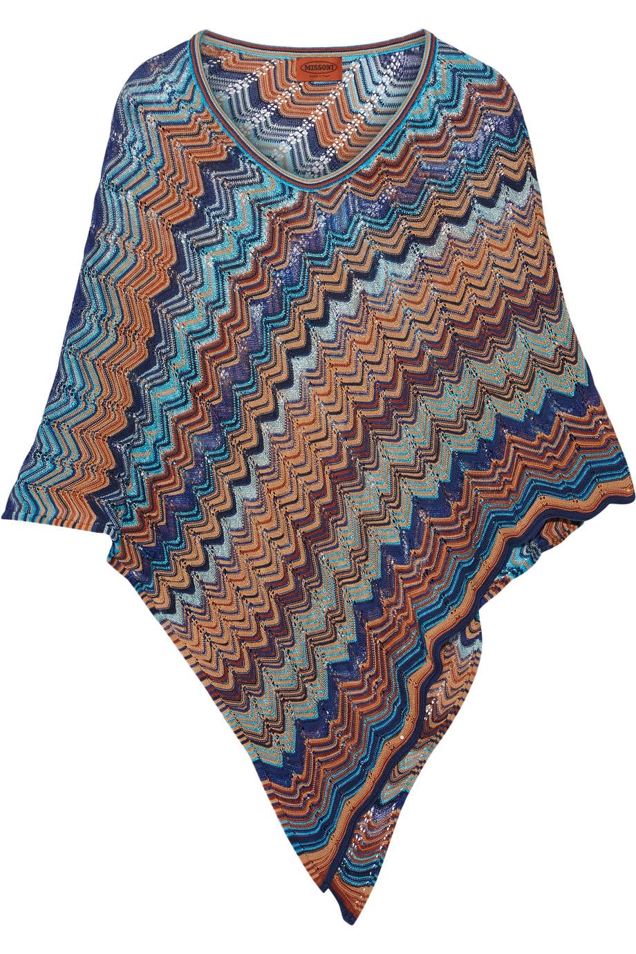 Missoni Crochet-Knit Cotton-Blend Poncho, Blue, Women's