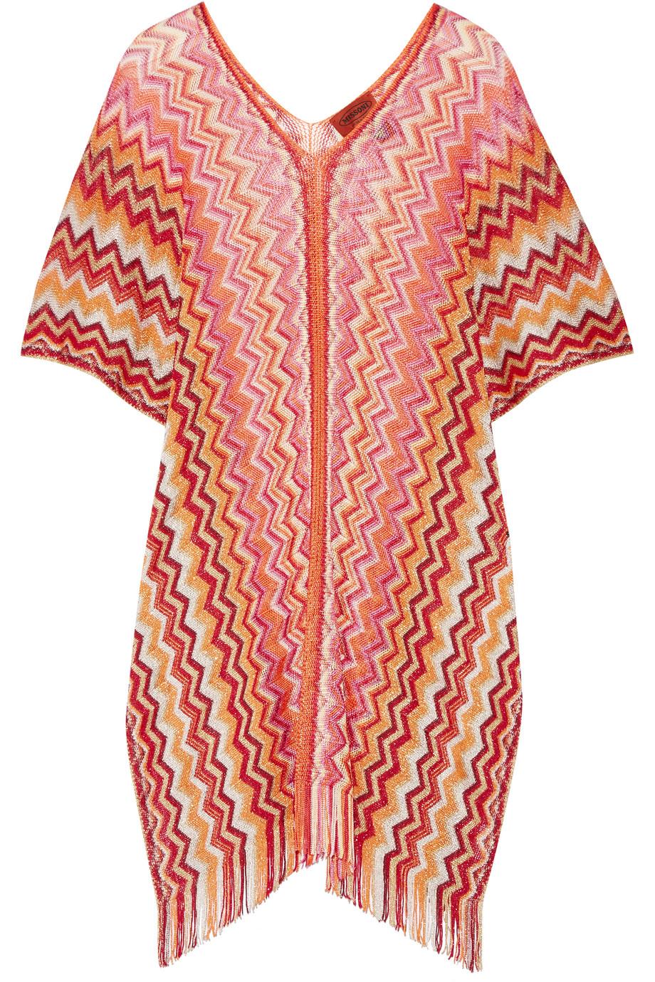 Missoni Metallic Crochet-Knit Poncho, Pink/Orange, Women's