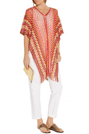 Metallic crochet-knit poncho