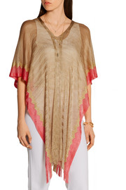Missoni Fringed two-tone crochet-knit kaftan