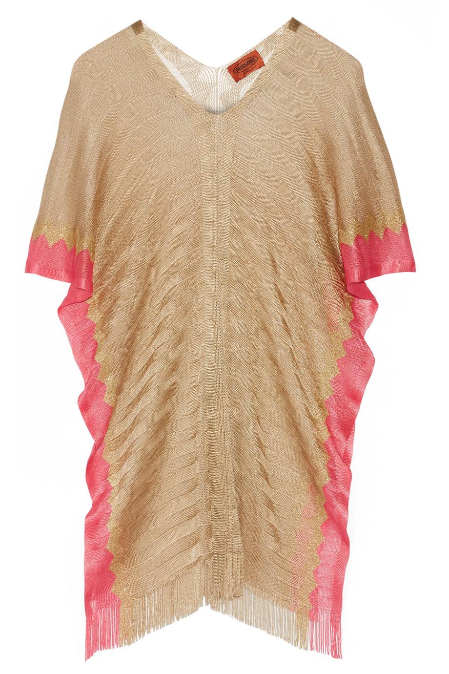 Missoni Fringed Two-Tone Crochet-Knit Kaftan, Gold, Women's