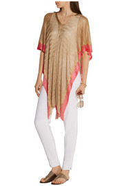 Fringed two-tone crochet-knit kaftan