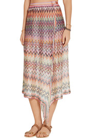 Missoni Fringed stretch crochet-knit pareo