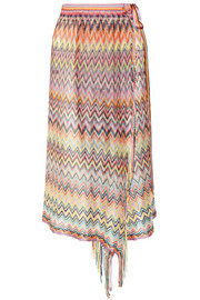 Fringed stretch crochet-knit pareo