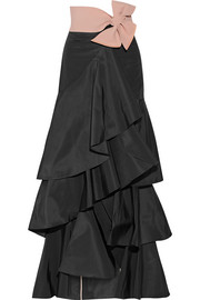 Johanna Ortiz Midnight ruffled silk-faille maxi skirt