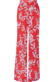 Te Borbon printed silk crepe de chine wide-leg pants