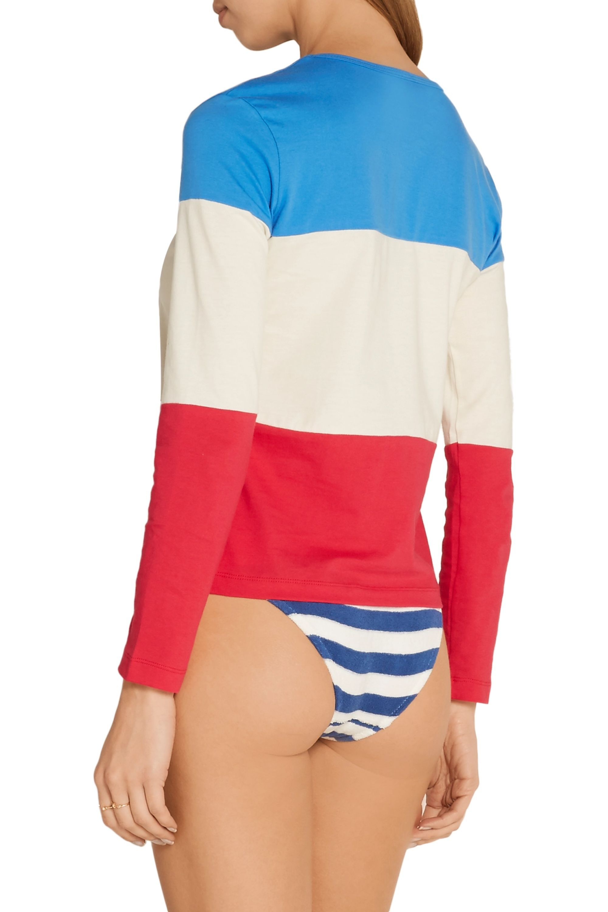 Solid & Striped Striped cotton-jersey top