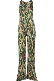 Araruta cutout printed silk-satin jumpsuit