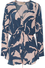 Printed silk crepe de chine playsuit