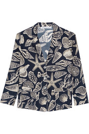 George printed silk-satin pajama shirt