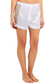 Fred lace-paneled silk-satin pajama shorts