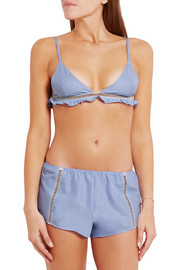 Wendy pointelle-trimmed pinstriped cotton soft-cup bra