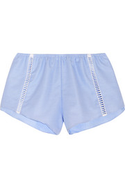 Simon pointelle-trimmed pinstriped cotton briefs