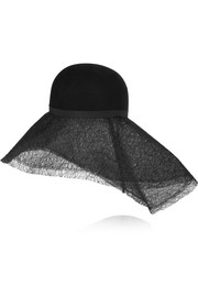 + Maison Michel rabbit-felt and lace wide-brim hat