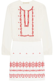 Exo embroidered cotton mini dress