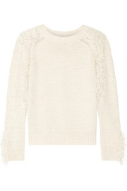Elodee fringed cotton-blend sweater