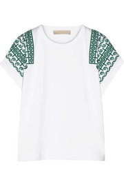 Etincelle embroidered cotton-jersey top