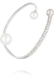 Ellipse sterling silver, pearl and diamond ear cuff