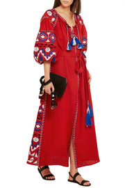 Kilim embroidered linen maxi dress