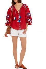 Kilim embroidered linen blouse