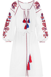 Poppy embroidered linen dress