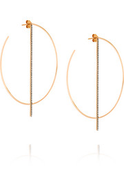 Diane Kordas 18-karat rose gold diamond hoop earrings