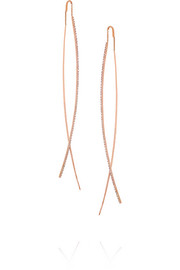 Diane Kordas Double Bar 18-karat rose gold diamond earrings