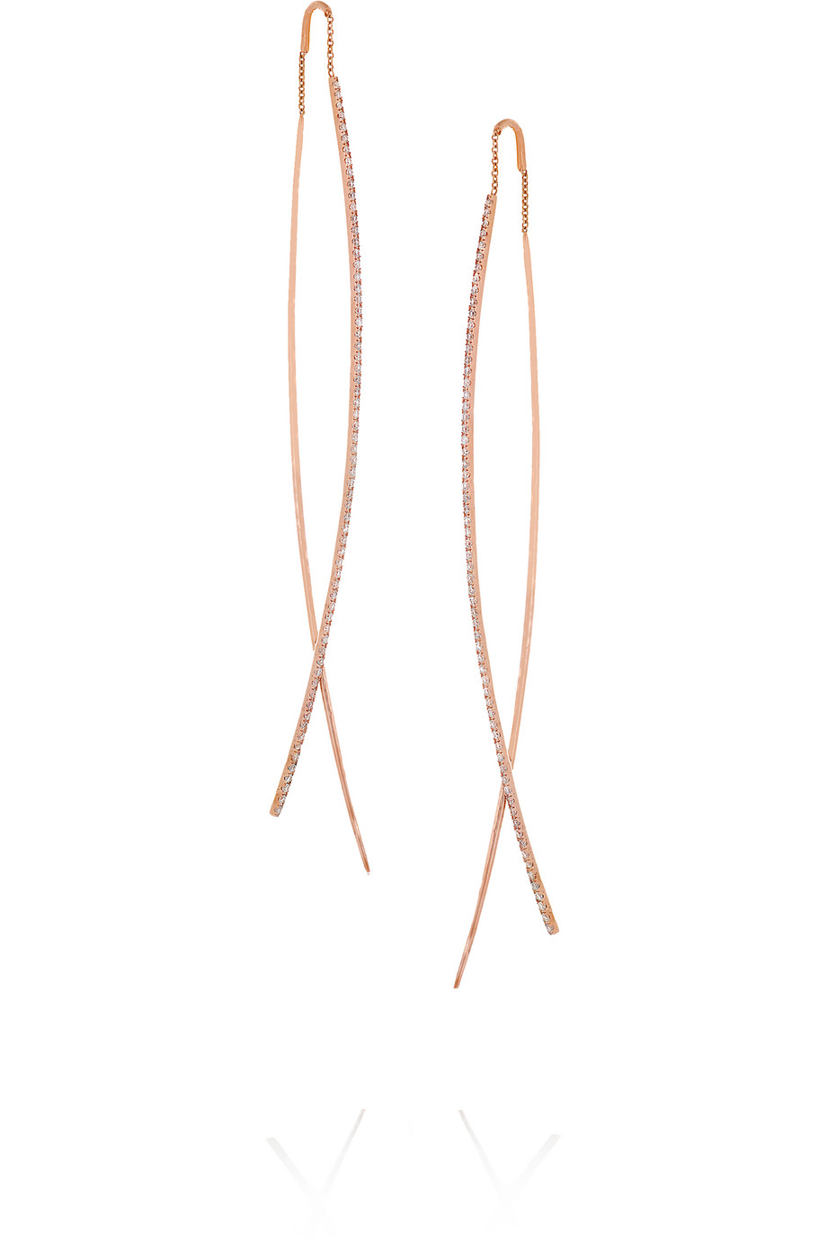 Diane Kordas Double Bar 18-Karat Rose Gold Diamond Earrings, Women's