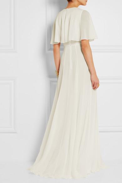 Giambattista Valli Woman Cape-effect Silk-georgette Gown Ivory Size 40 Giambattista Valli R8tX8AVO