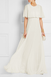 Giambattista Valli Cape-effect silk-georgette gown