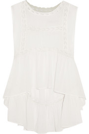 Chapelet embroidered tulle-paneled cotton-voile top