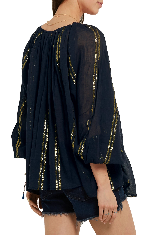 Mes Demoiselles Byzantine lamé-striped cotton-gauze blouse
