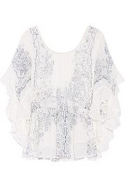 Bambino ruffled printed cotton-gauze top