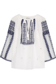 Mes Demoiselles Slava embroidered cotton-gauze blouse