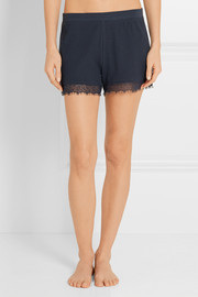 Bacall lace-trimmed waffle-knit cotton pajama shorts