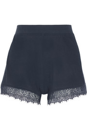 Skin Bacall lace-trimmed waffle-knit cotton pajama shorts
