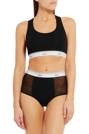 Olivia tulle-paneled organic stretch-cotton jersey briefs