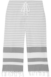 Tasseled striped cotton pajama pants