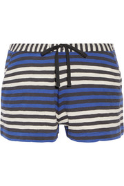 Skin Lesley striped cotton-jersey pajama shorts